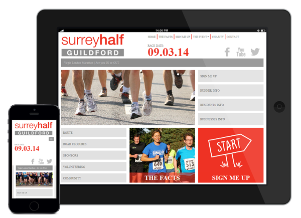 Surrey Half Marathon optimized for Mobile and Tabs