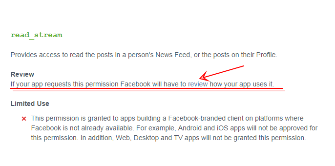 Permissions with Facebook Login