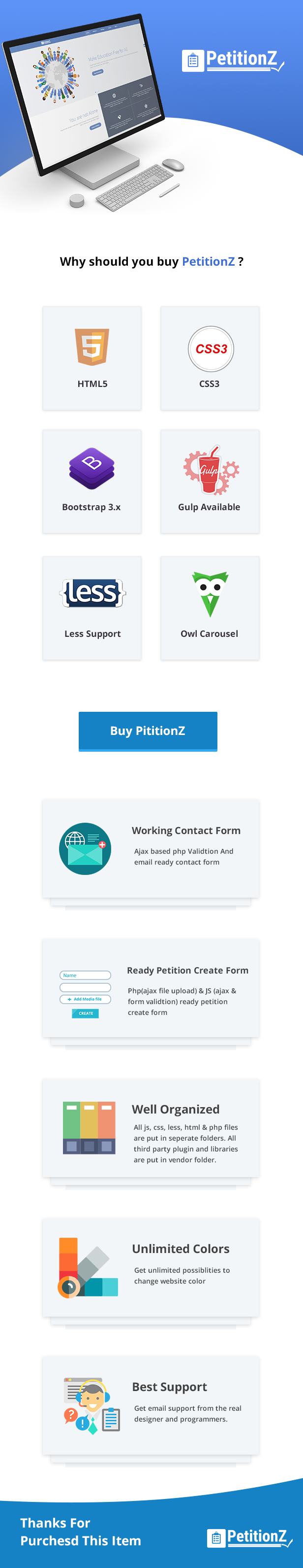 quick features of petitionz html template