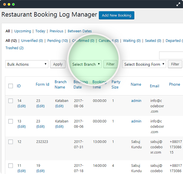 CBX Restaurant Booking - Booking Logs