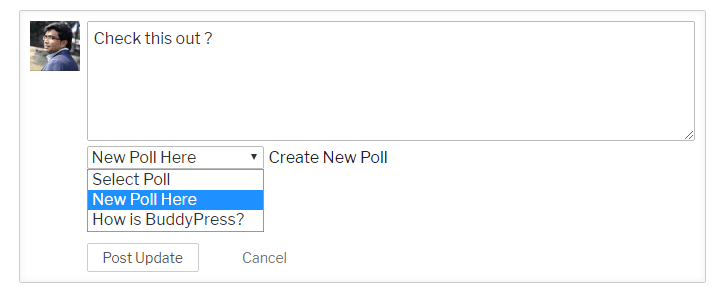 Insert Poll while Posting activity