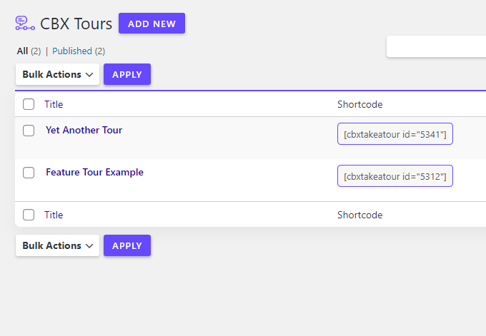 CBX Tour - User Walkthroughs/Guided Tours - Free and Pro Addon