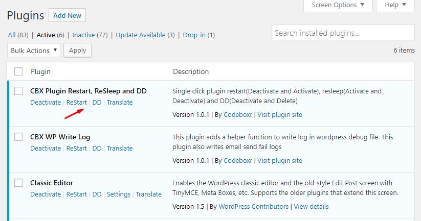 CBX Plugin Restart, ReSleep and DD for WordPress
