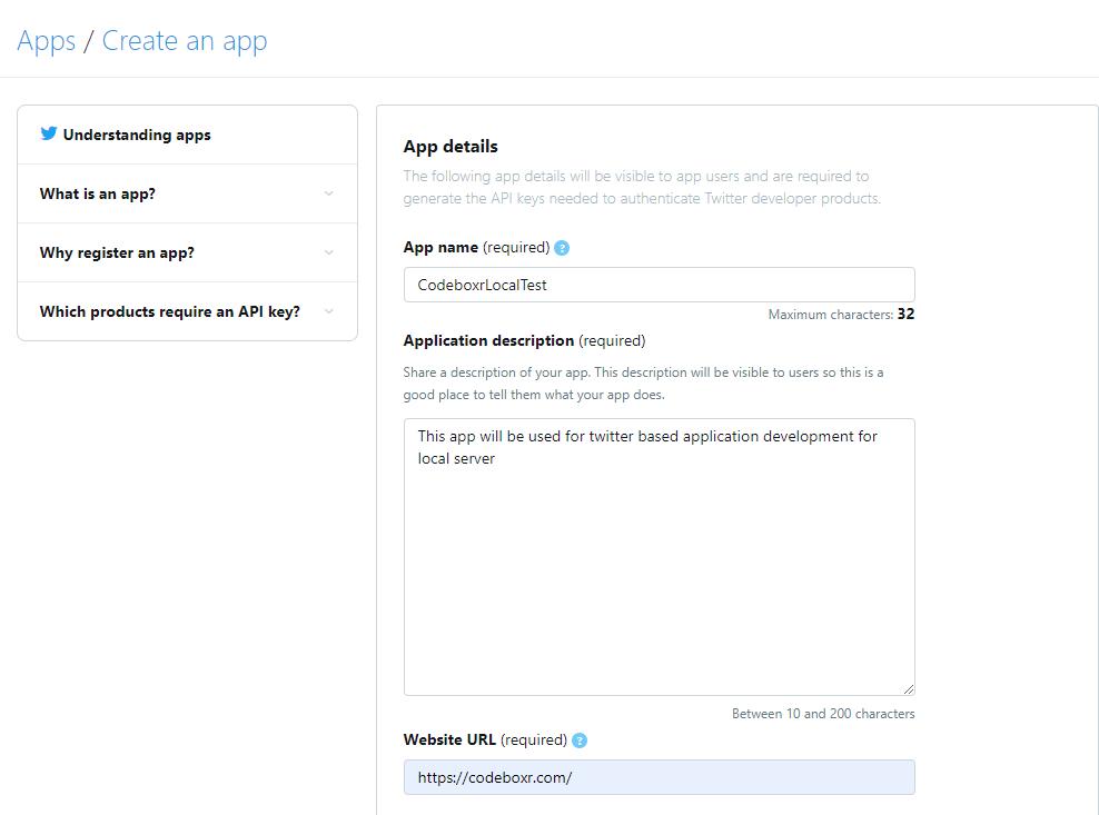 How to Create Twitter app | Codeboxr