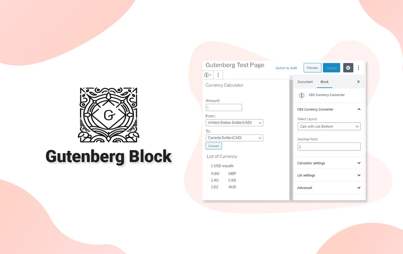 CBX Currency Converter for WordPress - Gutenberg Block