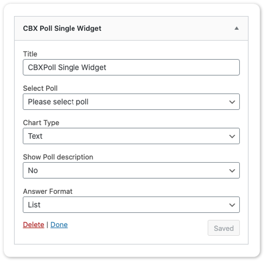 CBX Poll - Shortcode and Widget supported