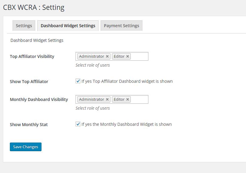 WCRA Global dashboard widget setting