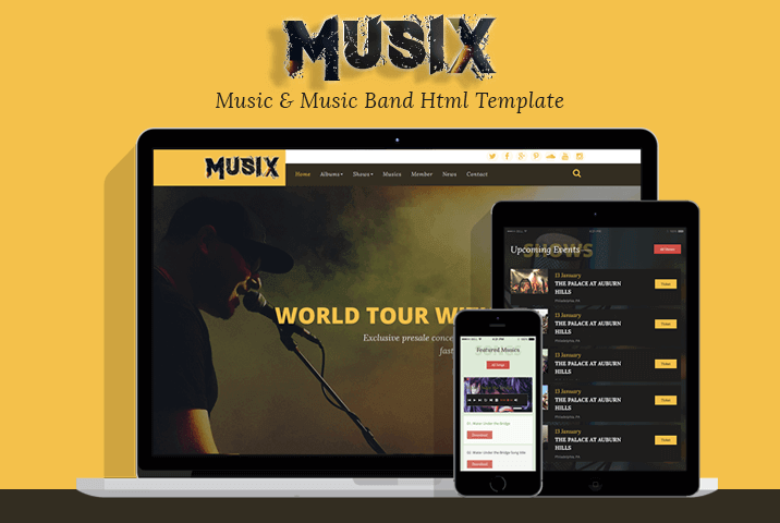 MusiX – Music Band Html Template